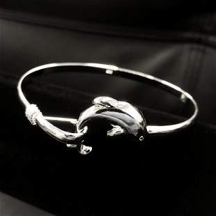 Beautiful Ladies 925 Sterling Silver Dolphin Bangle