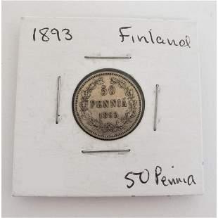 50 Pennia 1893 Finland Coin