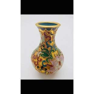 Asian Cloisonne & Enameled Floral Decorated Vase