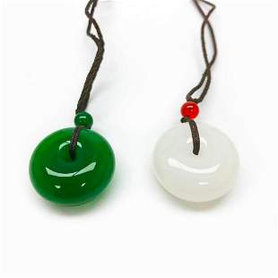 Pair Of Asian White & Green Jade Carved Pendants