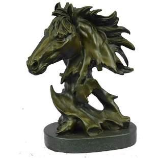 """Abstract Horse Head Bronze Bust Sculpture 12"""" x 9"""""""