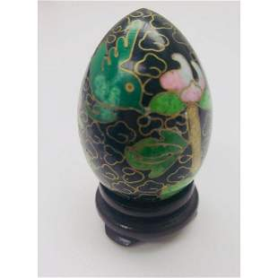 Asian Cloisonne & Enameled Floral Decorated Egg On