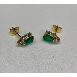 Ladies Green Agate And Crystal Tear-Drop Cut 18 KGP