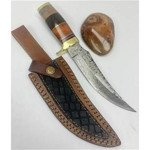 "10"" Inlaid Wood & Brass Handle Damascus Hunting Knife"