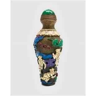 Beautiful Chinese Landscape Brass Hand-Painted Snuff