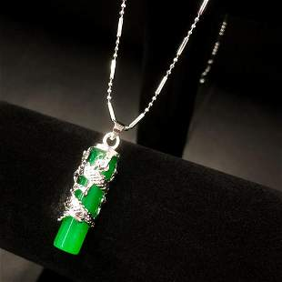 Asian Dragon Jade Cylindrical Pendant On 925 Necklace
