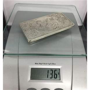 Asian Tibetan Silver Zodiac Amulet Bar 136g