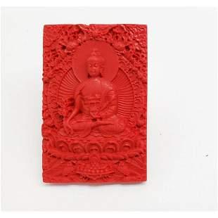 Natural Red Cinnibar Chinese Resting Buddha Pendant