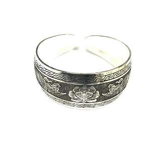 Tibetan Silver Floral & Pheonix Decorated Bangle