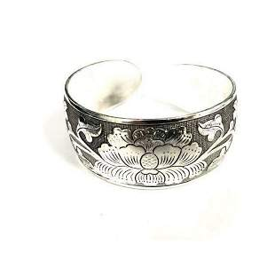 Tibetan Silver Floral Decorated Bangle