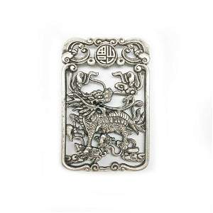 Exquisite Chinese Tibetan Silver Hand Carved Foodog
