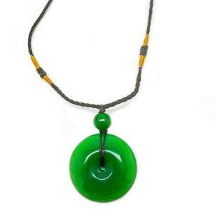 Asian Hand Green Jade Pendant Paired With Rope Necklace