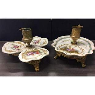 Pair of Rare Old French Painted Porcelain On Guilt