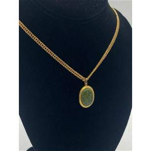 Gold & Green Jade Pendant Paired With Gold Plated