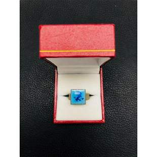Ladies Hand Crafted Blue Enamel Statement Ring