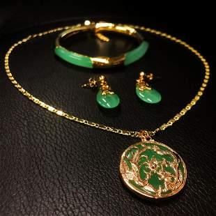 Green Jade Dragon Phoenix Necklace Earrings & Bracelet