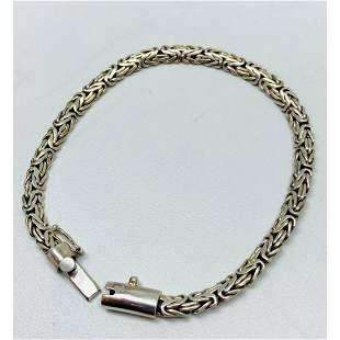 .925 Sterling Silver Byzantine Rope Chain Bracelet.