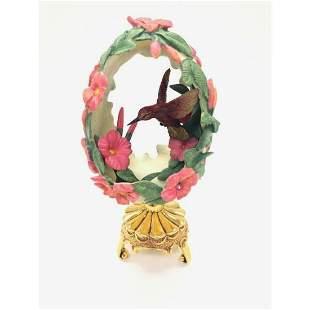 Franklin Mint Hibiscus Flower Hummingbird Faberge Egg