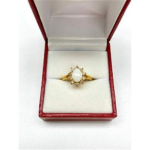 Ladies .35ct Oval Cut White Opal set in 18K Gold Plated