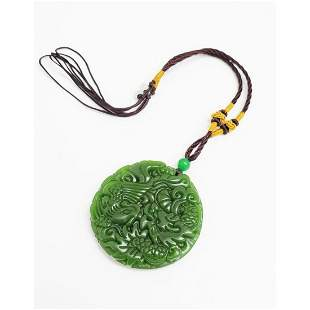 Asian Green Jade Hand-Carved Phoenix/Dragon Medallion