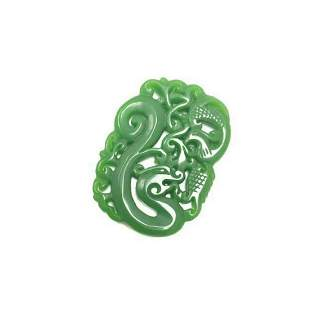 Carved Asian Green Jade Dragon Medallion Necklace