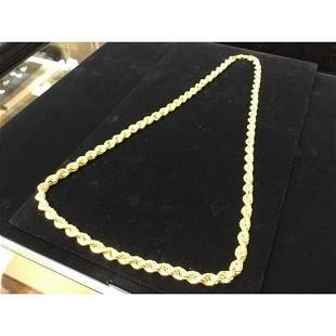 10k Yellow Gold Custom Designed Rope Chain Weight 40.5