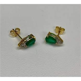 Ladies Green Agate And Crystal Tear-Drop Cut 18 KGP