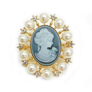 Grey And Gold Pearl Cameo Broach With Silhouette Of A