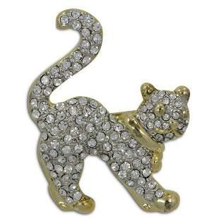 Cat Crystal Bejeweled Brooch