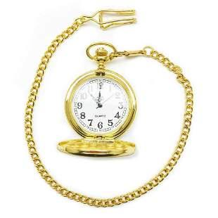 Gold Tone Quartz Old School Pocket Watch