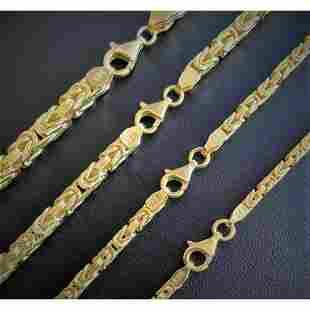 14k Gold Bonded Over Real 925 Sterling Silver Byzantine