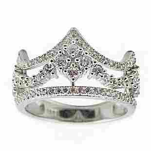 Ladies Cubic Zirconia Crown Sterling Silver Ring