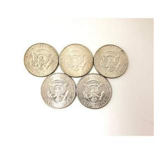 Five 1968 United States Of America Half Dollar Coins