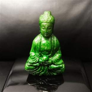Chinese Hand Carved Green Jade Carved Resting Buddha