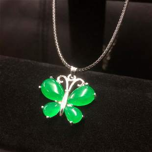 Asian Green Jade Butterfly Pendant Accompanied By 925