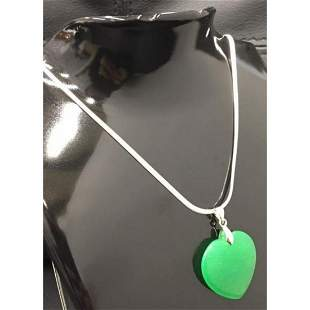 Chinese Green Jade Heart Pendant On 925 Necklace