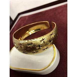 Ladies Clover Carved 24K Gold Filled Bangle