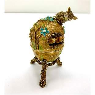 Keren Kopal Perched Owl Nest Faberge Egg