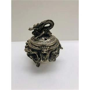 Tibetan Silver Incense Burners With Dragon Motif