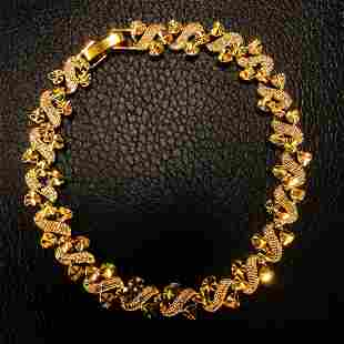 Heart Leaf Link Chain Bracelet Solid 24k Yellow Gold