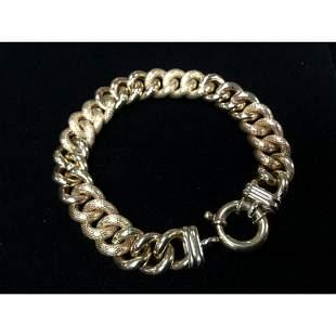 Custom Made Italian 14K Yellow Gold Cuban Link Bracelet
