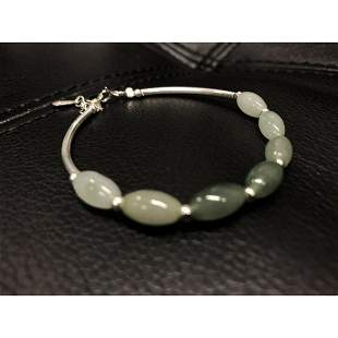 925 Sterling Silver Natural Oval Green Jade Bangle.