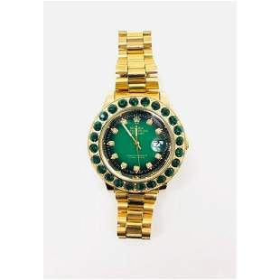 Mens Inspired by Rolex Emerald And Gold Colored Watch