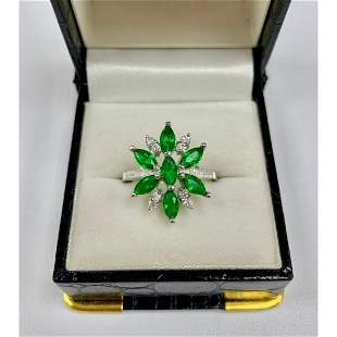 Lovely Ladies Size 7 Green Tourmaline and Sterling