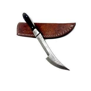 Damascus Steel Full Tang Wood Handle Skinning Shiv For