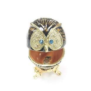 Royal Designed Enameled Semi Precious Stone Owl Trinket