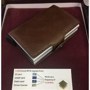 Genuine Stitched Leather Smart Wallet With Spring Load