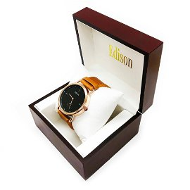 Edison Rose Gold Gloss Finish & Genuine Leather Band
