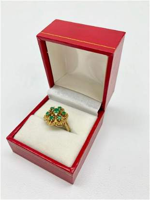 .12ct Round Cut Emerald set in 14K Gold Ring