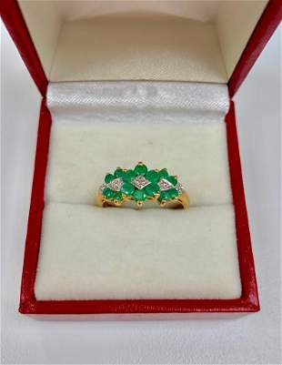 Detailed Ladies Size 7, 10k Gold, Emerald and Diamond